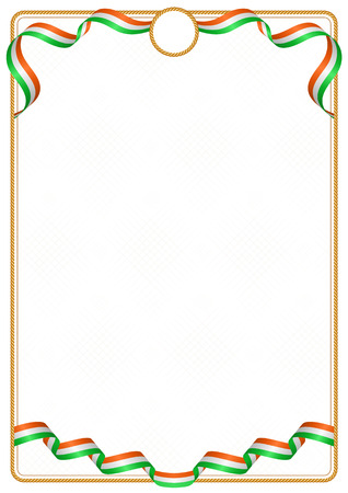 Frame and border of ribbon with the colors of the Niger flag, template elements for your certificate and diploma