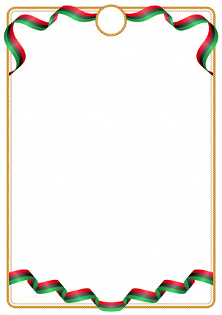 Frame and border of ribbon with the colors of the Libya flag, template elements for your certificate and diploma