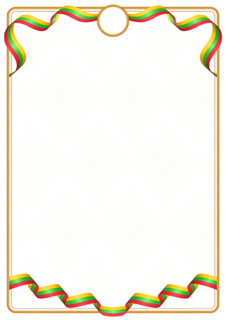 Frame and border of ribbon with the colors of the Myanmar flag, template elements for your certificate and diploma