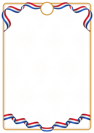 Frame and border of ribbon with the colors of the Netherlands flag, template elements for your certificate and diploma 矢量图像