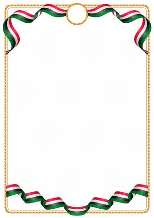Cadre et bordure de ruban aux couleurs du drapeau du Soudan, éléments de modèle pour votre certificat et diplôme Vecteurs