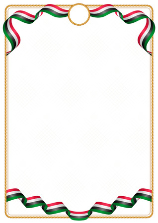 Frame and border of ribbon with the colors of the Sudan flag, template elements for your certificate and diploma Vetores