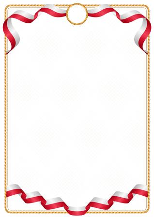 Frame and border of ribbon with the colors of the Malta flag, template elements for your certificate and diploma