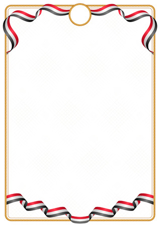 Frame and border of ribbon with the colors of the Egypt flag, template elements for your certificate and diploma