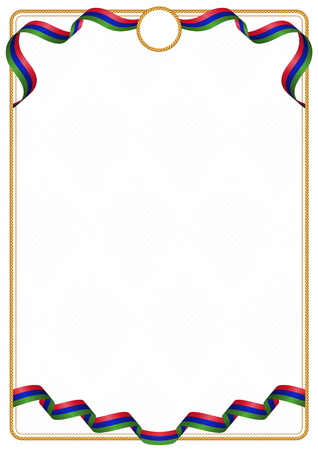 Frame and border of ribbon with the colors of the Gambia flag, template elements for your certificate and diploma