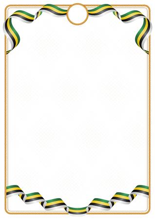 Cadre et bordure de ruban aux couleurs du drapeau de la Dominique, éléments de modèle pour votre certificat et diplôme Vecteurs