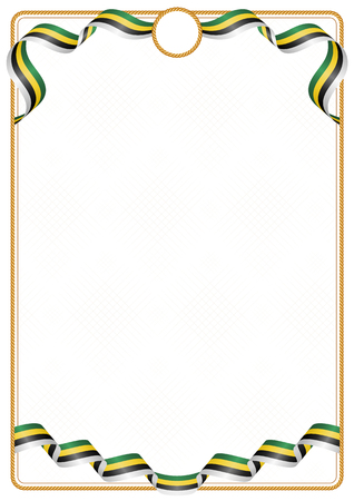 Frame and border of ribbon with the colors of the Dominica flag, template elements for your certificate and diploma