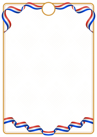 Frame and border of ribbon with the colors of the Paraguay flag, template elements for your certificate and diploma