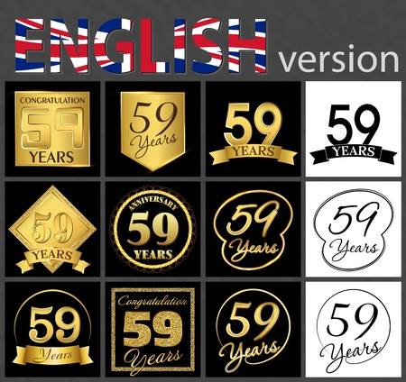 Set of number 59 years (fifty-nine years) celebration. Anniversary golden number template elements for your birthday party