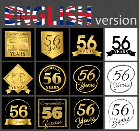 Set of number 56 years (fifty-six years) celebration. Anniversary golden number template elements for your birthday party