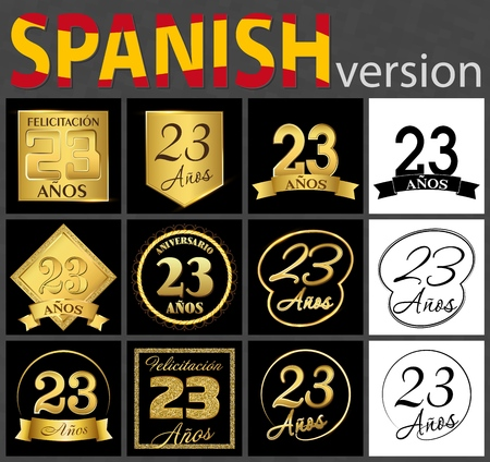 Set of number twenty-three years (23 years) celebration design. Anniversary golden number template elements for your birthday party. Translated from the Spanish - congratulation, years, anniversary