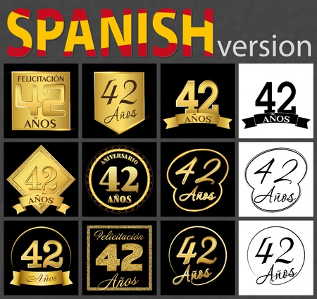 Set of number forty-two years (42 years) celebration design. Anniversary golden number template elements for your birthday party. Translated from the Spanish - congratulation, years, anniversary