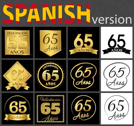 Set of number sixty-five years (65 years) celebration design. Anniversary golden number template elements for your birthday party. Translated from the Spanish - congratulation, years, anniversary