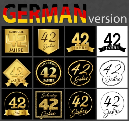 Set of number forty-two years (42 years) celebration design. Anniversary golden number template elements for your birthday party. Translated from the German - congratulation, years, anniversary