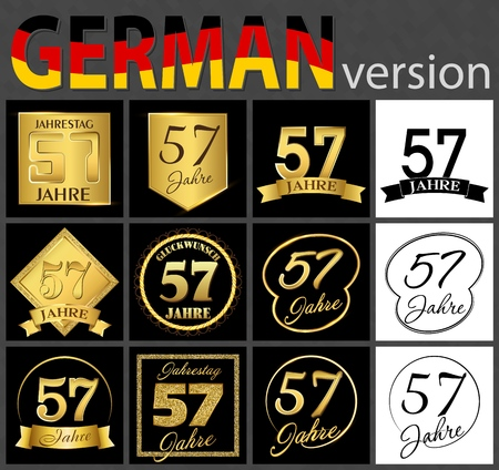 Set of number fifty-seven years (57 years) celebration design. Anniversary golden number template elements for your birthday party. Translated from the German - congratulation, years, anniversary
