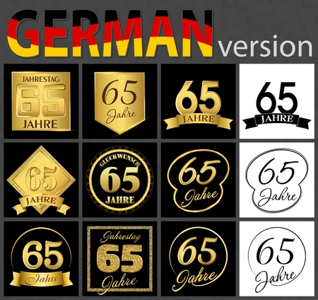 Set of number sixty-five years (65 years) celebration design. Anniversary golden number template elements for your birthday party. Translated from the German - congratulation, years, anniversary