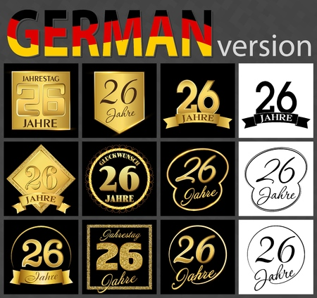 Set of number twenty-six years (26 years) celebration design. Anniversary golden number template elements for your birthday party. Translated from the German - congratulation, years, anniversary Ilustração
