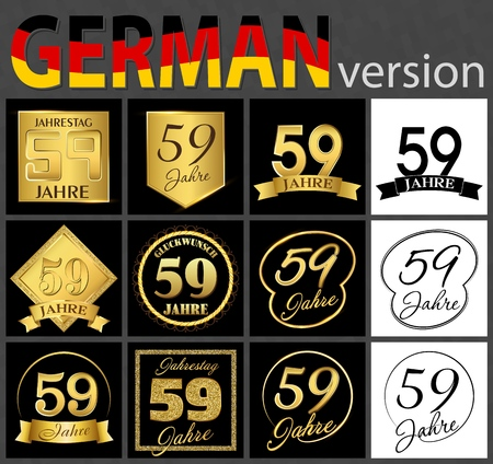 Set of number fifty-nine years (59 years) celebration design. Anniversary golden number template elements for your birthday party. Translated from the German - congratulation, years, anniversary
