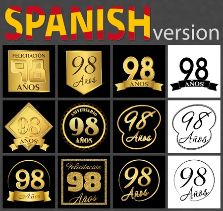 Set of number 98 years (ninety-eight years) celebration design. Anniversary golden number template elements for your birthday party. Translated from the Spanish - congratulation, years, anniversary