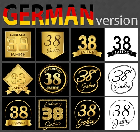 Set of number thirty-eight years (38 years) celebration design. Anniversary golden number template elements for your birthday party. Translated from the German - congratulation, years, anniversary
