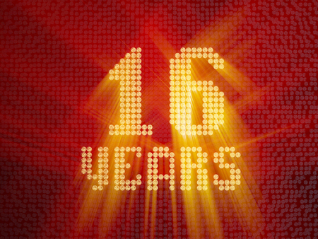 Golden number sixteen years (number 16 years) dotted font, top view, with light rays. 3D render Imagens