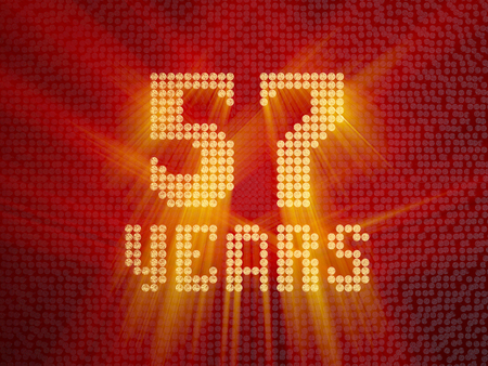 Golden number fifty-seven years (number 57 years) dotted font, top view, with light rays. 3D render