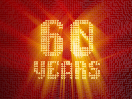 Golden number sixty years (number 60 years) dotted font, top view, with light rays. 3D render Banco de Imagens