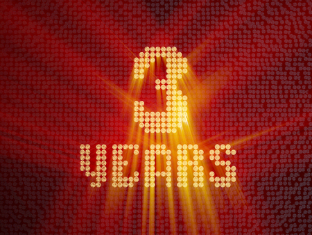 Golden number three years (number 3 years) dotted font, top view, with light rays. 3D render