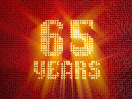 Golden number sixty-five years (number 65 years) dotted font, top view, with light rays. 3D render Stock Photo