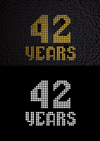 Golden number forty-two years (number 42 years) dotted font, top view, with dark zero and one background. With alpha channel. 3D render