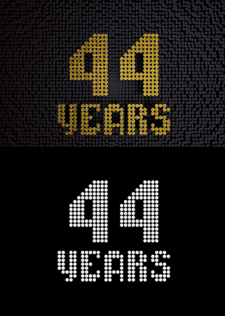 Golden number forty-four years (number 44 years) dotted font, top view, with dark zero and one background. With alpha channel. 3D render