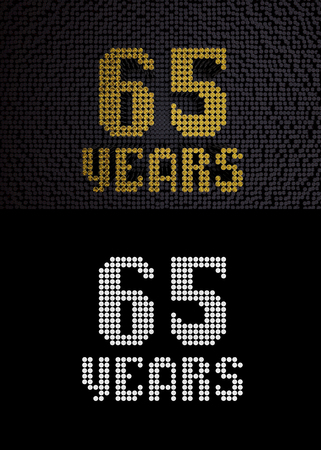 Golden number sixty-five years (number 65 years) dotted font, top view, with dark zero and one background. With alpha channel. 3D render