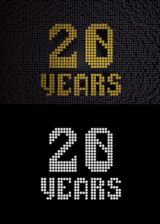 Golden number twenty years (number 20 years) dotted font, top view, with dark zero and one background. With alpha channel. 3D render