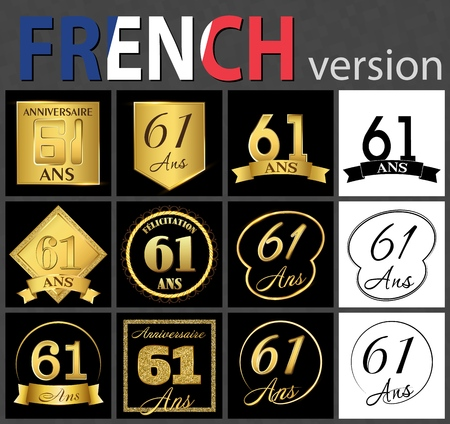 Set of number sixty-one years (61 years) celebration design. Anniversary golden number template elements for your birthday party. Translated from the French - congratulation, years, anniversary 일러스트