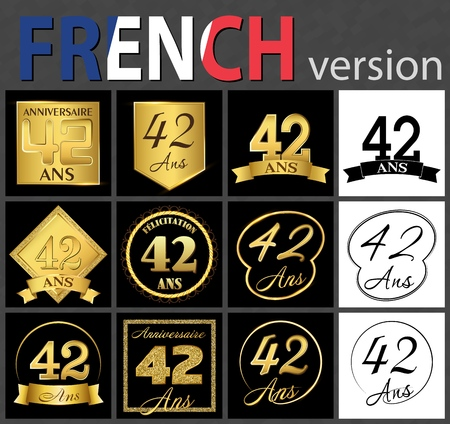 Set of number forty-two years (42 years) celebration design. Anniversary golden number template elements for your birthday party. Translated from the French - congratulation, years, anniversary