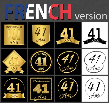 Set of number forty-one years (41 years) celebration design. Anniversary golden number template elements for your birthday party. Translated from the French - congratulation, years, anniversary
