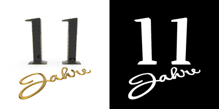 German golden number eleven years (number 11 years) and the inscription years with drop shadow and alpha channel. Translated from the German - years. 3D illustration