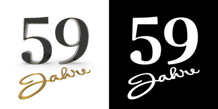German golden number fifty-nine years (number 59 years) and the inscription years with drop shadow and alpha channel. Translated from the German - years. 3D illustration