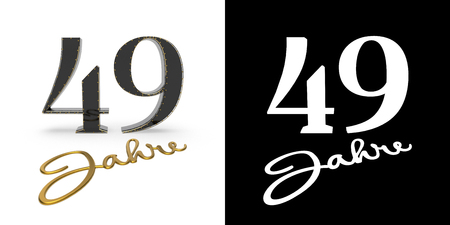 German golden number forty-nine years (number 49 years) and the inscription years with drop shadow and alpha channel. Translated from the German - years. 3D illustration Banco de Imagens