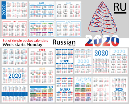 Russian set of pocket calendars for 2020 (Two thousand nineteen). Week starts Monday. New year. Color simple design. Vector
