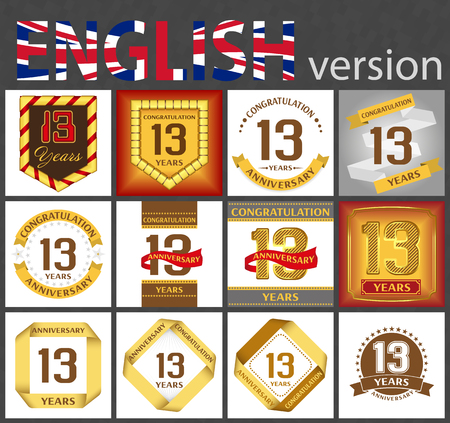 Set of number thirteen years (13 years) celebration design. Anniversary golden number template elements for your birthday party