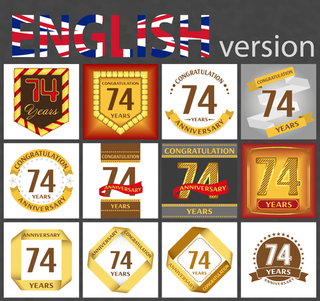 Set of number seventy-four years (74 years) celebration design. Anniversary golden number template elements for your birthday party