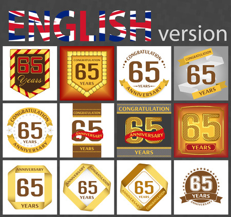 Set of number sixty-five years (65 years) celebration design. Anniversary golden number template elements for your birthday party