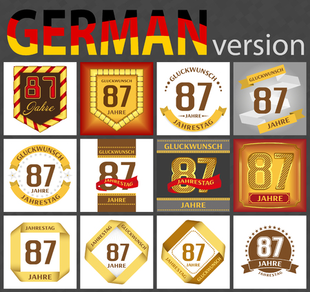 German set of number eighty-seven years (87 years) celebration design. Anniversary number template elements for your birthday party. Translated from the German - congratulation, years, anniversary