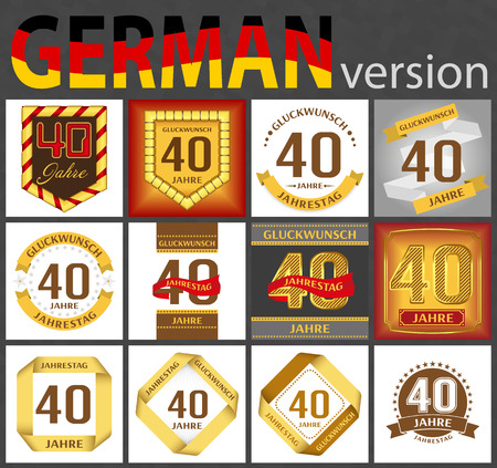 German set of number forty years (40 years) celebration design. Anniversary number template elements for your birthday party. Translated from the German - congratulation, years, anniversary