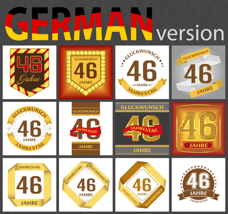 German set of number forty-six years (46 years) celebration design. Anniversary number template elements for your birthday party. Translated from the German - congratulation, years, anniversary