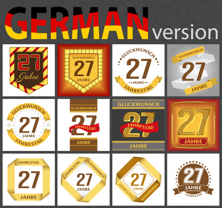 German set of number twenty-seven years (27 years) celebration design. Anniversary number template elements for your birthday party. Translated from the German - congratulation, years, anniversary