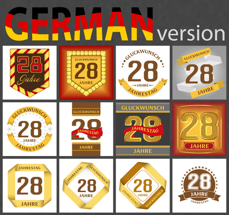 German set of number twenty-eight years (28 years) celebration design. Anniversary number template elements for your birthday party. Translated from the German - congratulation, years, anniversary