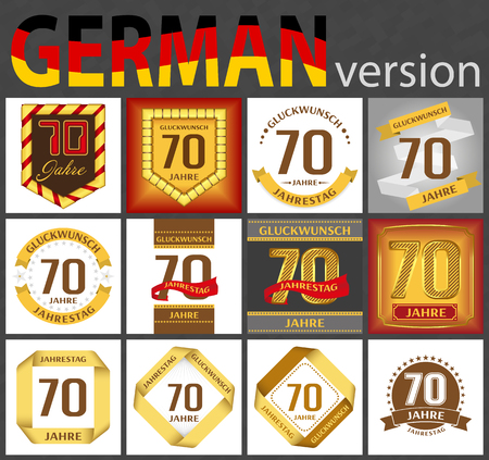 German set of number seventy years (70 years) celebration design. Anniversary number template elements for your birthday party. Translated from the German - congratulation, years, anniversary Ilustração