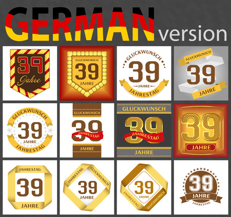 German set of number thirty-nine years (39 years) celebration design. Anniversary number template elements for your birthday party. Translated from the German - congratulation, years, anniversary